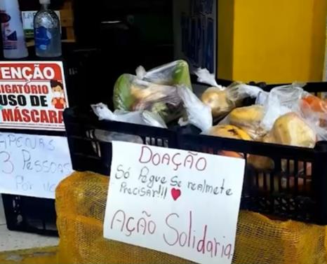 Solidariedade: comerciantes fazem ponto de doações de alimentos