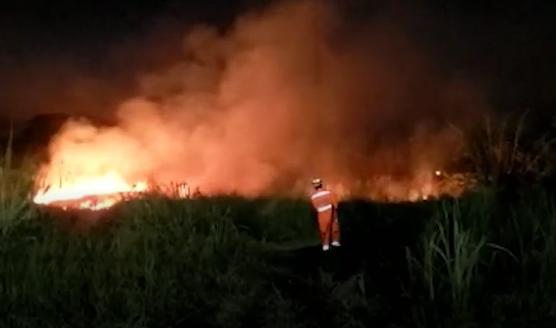 Alfenas: bombeiros combatem incêndio em lote vago