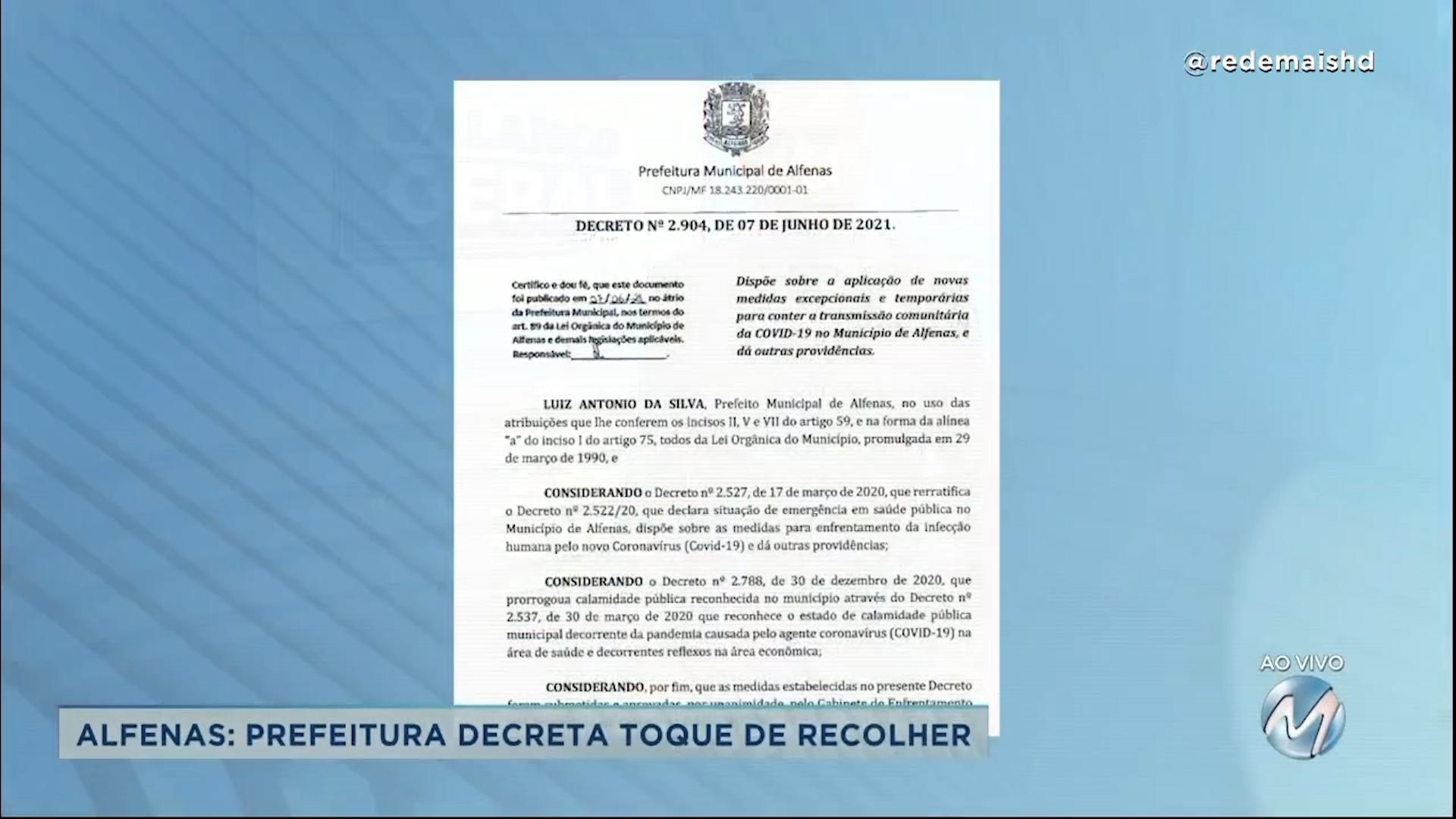 Covid-19: prefeitura de Alfenas decreta toque de recolher