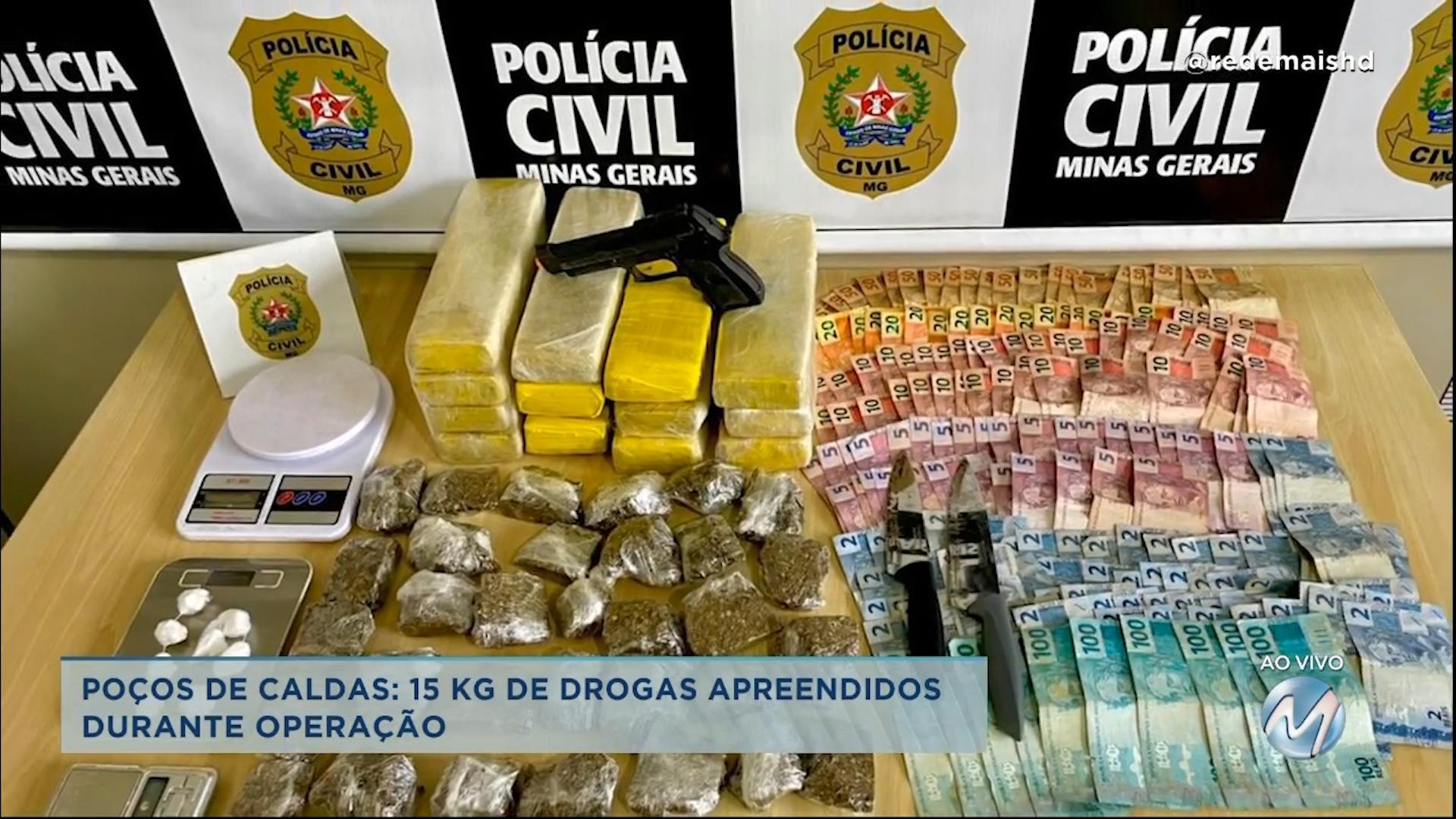 15 kg de drogas apreendidos em Poços de Caldas