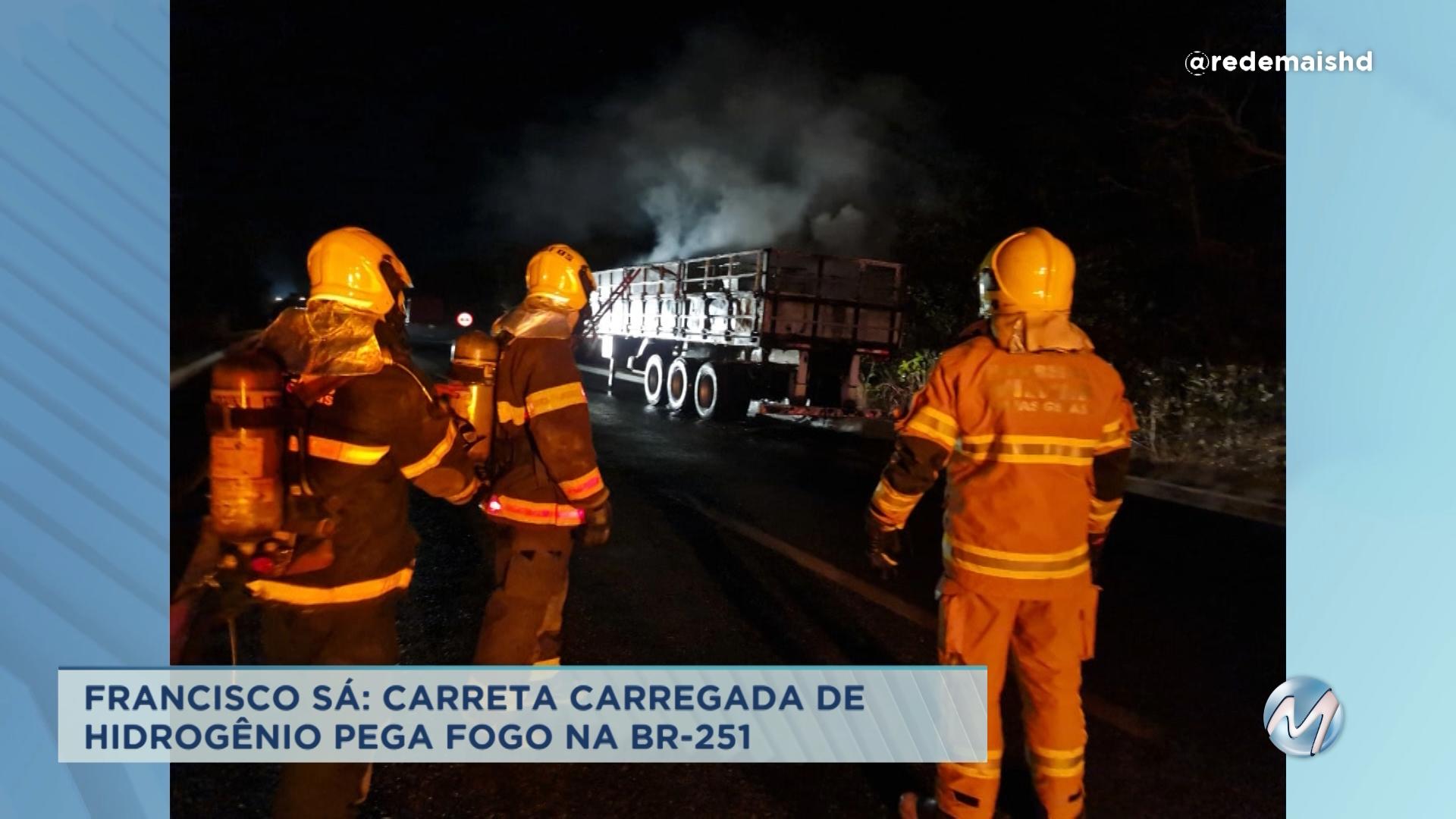Francisco Sá: carreta carregada de hidrogênio pega fogo em rodovia