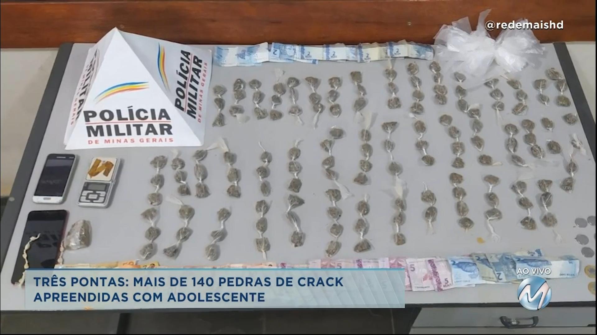 Três Pontas: adolescentes é apreendido com mais de 140 pedras de crack