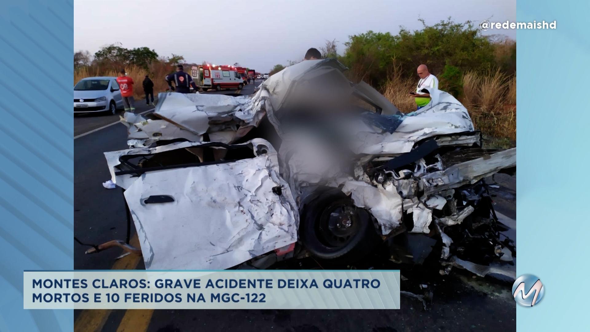 Acidente deixa 4 mortos e 10 feridos em Montes Claros
