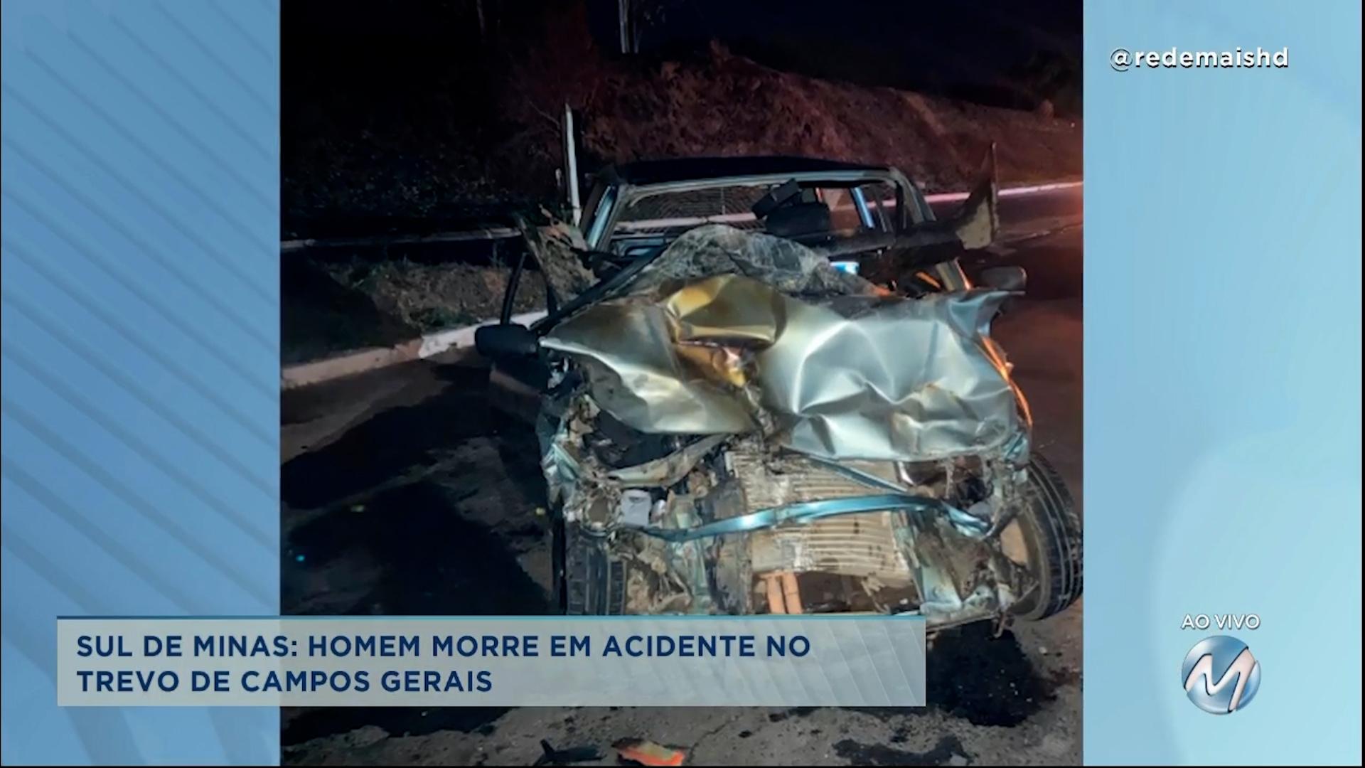 Homem morre em acidente em trevo no Sul de Minas