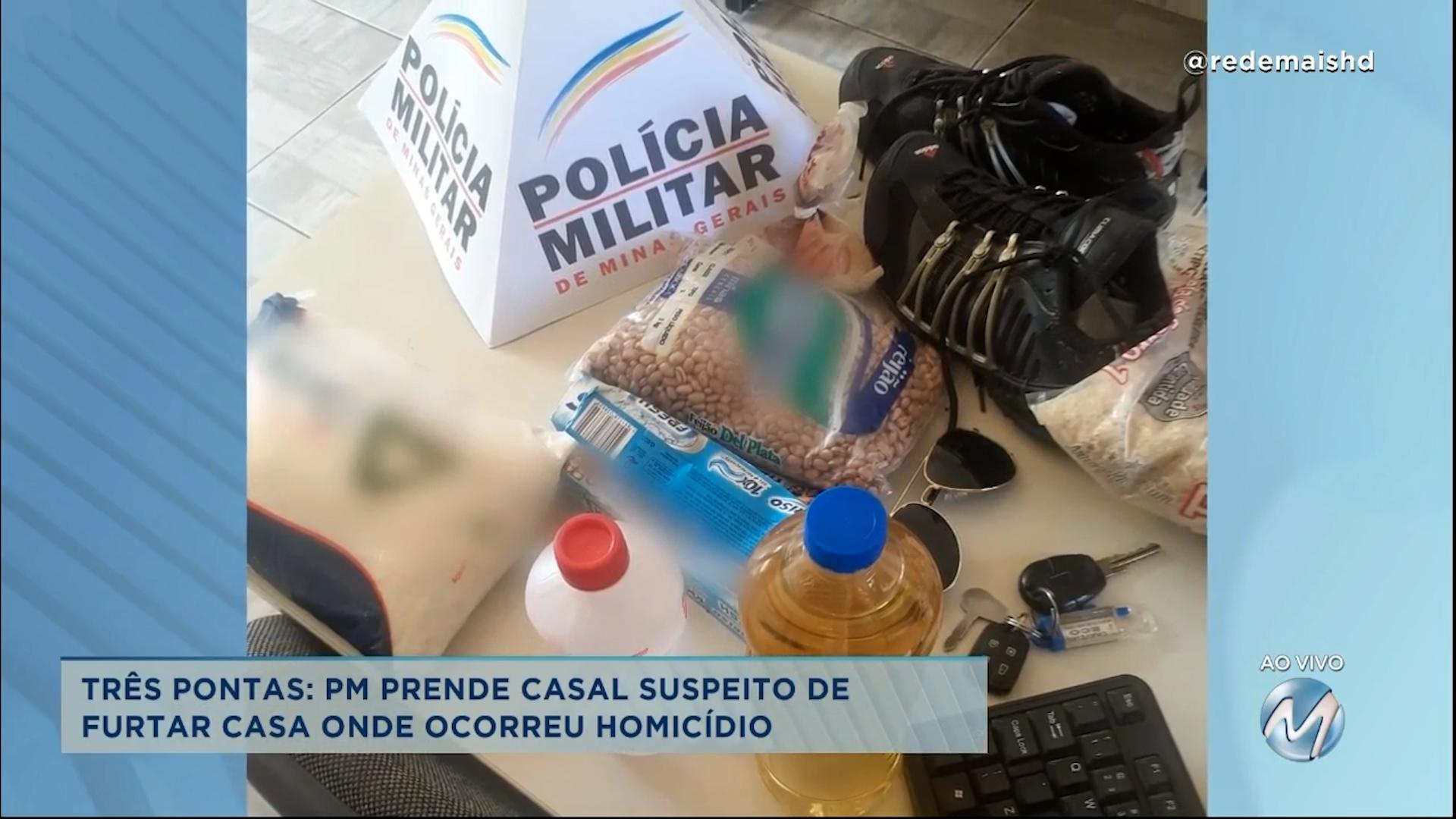 Três Pontas: PM prende casal suspeito de furtar casa onde ocorreu homicídio