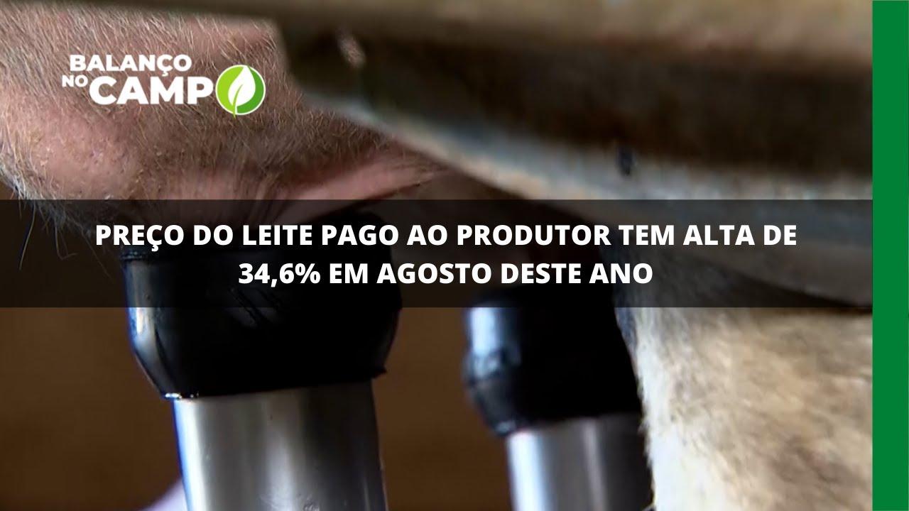 Preço do leite pago ao produtor tem alta de 34,6% em agosto deste ano
