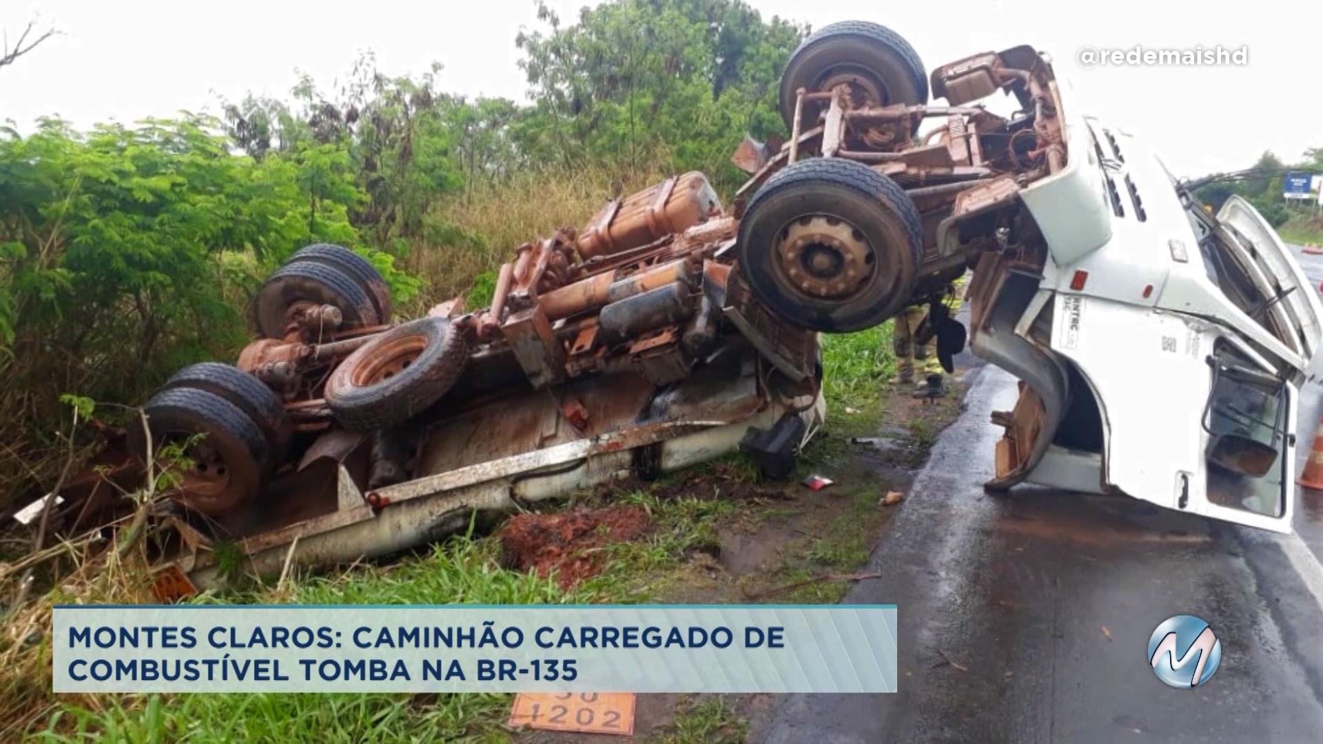 Montes Claros: caminhão carregado de combustível tomba na BR-135